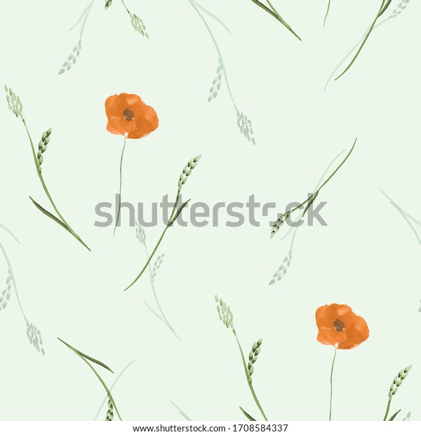 Watercolor seamless pattern small summer orange flowers with gray branch on a green background