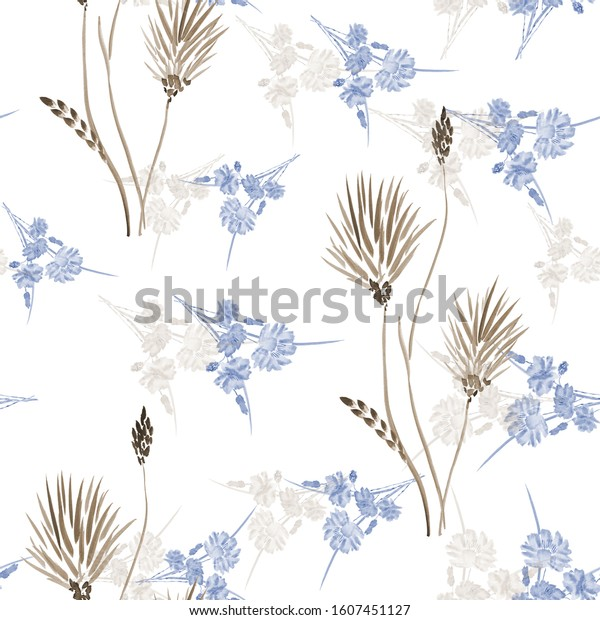 Watercolor seamless pattern of small wild beige and blue flowers on a white background.