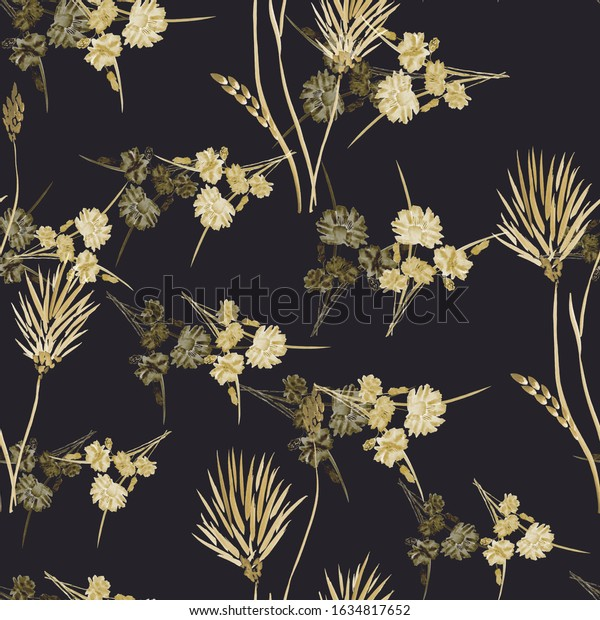 Watercolor seamless pattern of small wild yellow and beige flowers on the black background.