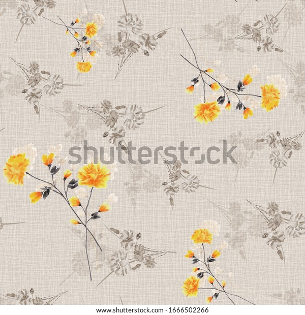 Watercolor seamless pattern of small,  wild yellow and beige flowers and bouquets on a beige background.
