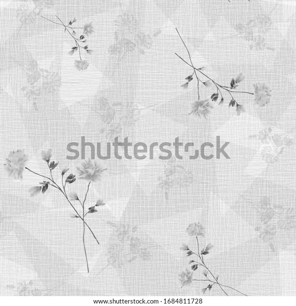 Watercolor seamless pattern of small,  wild gray flowers and bouquets on a gray background with geometric figures.