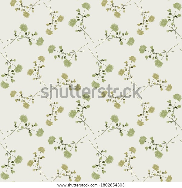Watercolor seamless pattern of small wild branchs with green flowers on a light green background