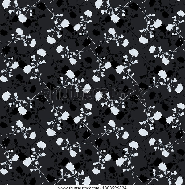 Watercolor seamless pattern of small wild white and dark flowers on the black background