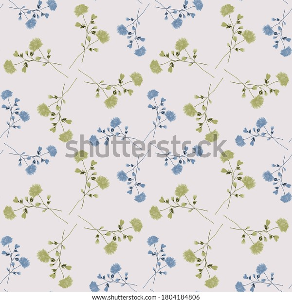 Watercolor seamless pattern of small wild blue and green flowers on a light pink background - D