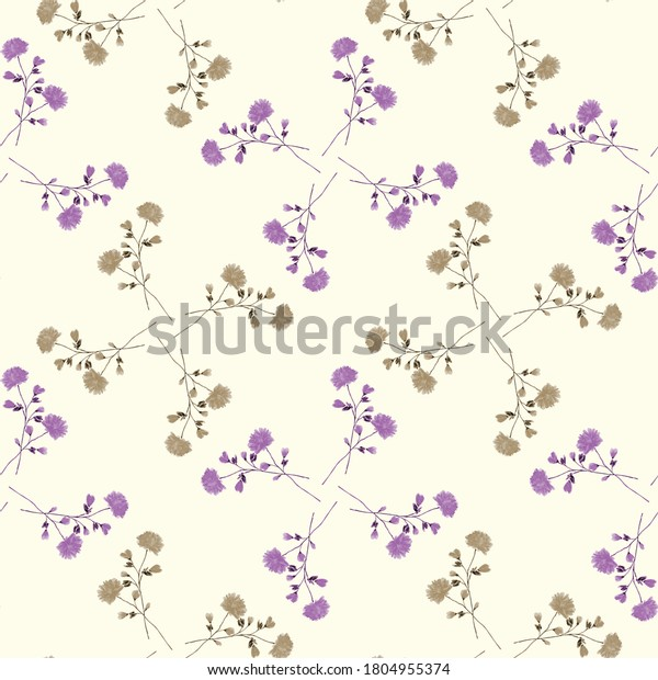 Watercolor seamless pattern of small wild violet and beige flowers on a light yellow background