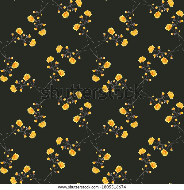 Watercolor seamless pattern of small wild yellow flowers on the black background. Ornament