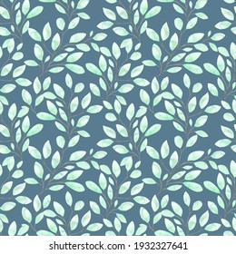 Watercolor seamless pattern with soft green leaves, spring foliage on twigs on a blue background, botanical illustration for pajamas, fabrics, dresses, greeting cards.