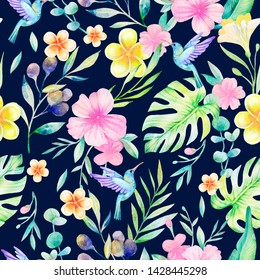 Watercolor seamless pattern. Sophisticated tropical ornament. Duplicate design. Exotic flowers, leaves, palm branches, berries, monstera and hummingbird birds on a dark background. Hand drawn
