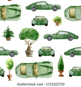Watercolor seamless pattern. Speed car and outdoor plant. Hand drawn illustrations, isolated on white background.
