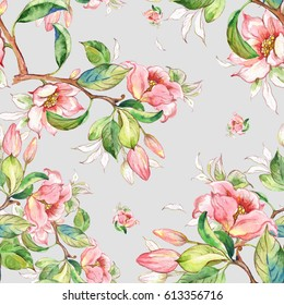 Watercolor seamless pattern of spring branches