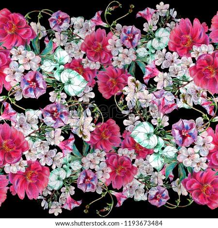 Watercolor Seamless Pattern Spring Flowers Horizontal Stock
