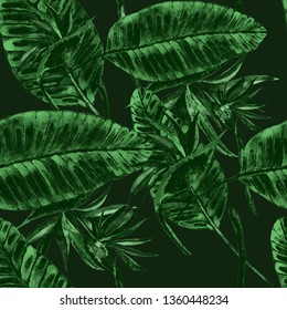 Watercolor seamless pattern with strelitzia. Jungle palm leaves. Fashion style seamless background. Tropical flower background. Exotic floral seamless pattern. Bright summer print.