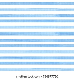 Watercolor seamless pattern with stripes. Bright and stylish sea theme background.