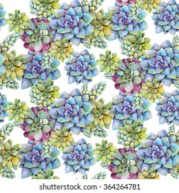 Watercolor seamless pattern with succulent plants. Hand drawn raster illustration
