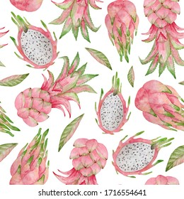 Watercolor seamless pattern with summer fresh fruits. Pink tropical pineapple and pitaya. Summer background for textile, covers, decoration, wrapping.
