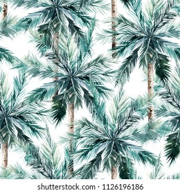 Watercolor seamless pattern. Summer tropical palm trees background. Jungle watercolour print