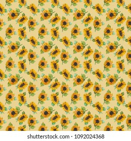 Watercolor seamless pattern with sunflowers. Background for your design. Bright flowers.