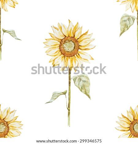 Watercolor Seamless Pattern Sunflowers Flowers Wallpaper
