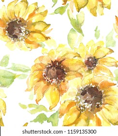 Watercolor seamless pattern of sunflowers on a white backgroud.