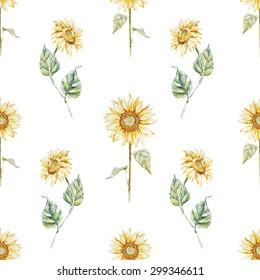 watercolor seamless pattern sunflowers, yellow, bright flowers