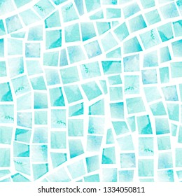 Watercolor seamless pattern of swimming pool tile. Artistic mosaic background. Hand painted illustration of turquoise geometric shapes with water color paper texture