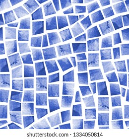 Watercolor seamless pattern of swimming pool tile. Artistic mosaic background. Hand painted illustration of navy blue geometric shapes with water color paper texture