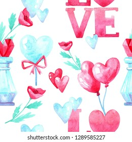 Watercolor seamless pattern texture for Valentine's Day. Hand painted background. Romantic illustration perfect for design greetings, prints, flyers,cards,holiday invitations and more.