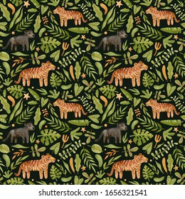 Watercolor seamless pattern with tiger, panther and plants. Jungle adventure background with wild cat and leaves. Woodland animals texture perfect for children's textiles, wrapping, cards, wallpaper