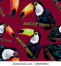 Watercolor seamless pattern with toucan. Summer tropical illustration. Seamless abstract wild exotic animal print. Cute cartoon wild animal.