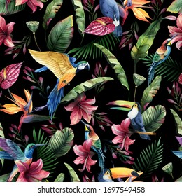 Watercolor seamless pattern, tropical birds, toucan, parrot with flowers and green leaves, yellow and red tropic flowers on dark background. Floral element for wedding and invitation cards.