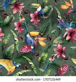 Watercolor seamless pattern, tropical birds, toucan, parrot with flowers and green leaves, yellow and red tropic flowers on green background. Floral element for wedding and invitation cards.