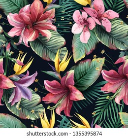Watercolor seamless pattern of tropical flowers, palm and leaves on dark background