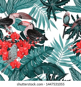 Watercolor seamless pattern with tropical flowers, leaves and birds. Summer print. Exotic jungle animal wallpaper.