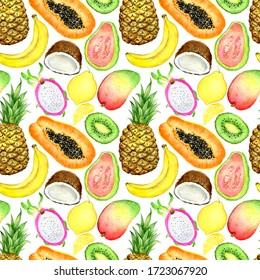 watercolor seamless pattern with tropical fruit on a white background