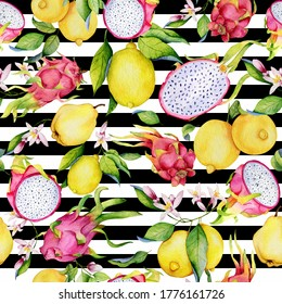 Watercolor seamless pattern with tropical fruits: lemons, dragon and quince striped background. Colorfull bright summer seamless background for textile, wallpapers.