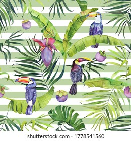 Watercolor seamless pattern with tropical fruits and toucans on green color striped background. Colorfull bright summer seamless background for textile, wallpapers, print and banners.