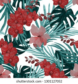 Watercolor seamless pattern with tropical illustration. Exotic flowers, leaves. Surface design. Hand paint.