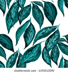 Watercolor seamless pattern with tropical leaves.
