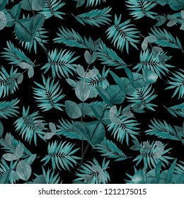 Watercolor seamless pattern with tropical leaves. Palm. Eucalyptus branches. Surface design.