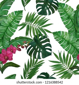 Watercolor seamless pattern with tropical leaves and orchid.