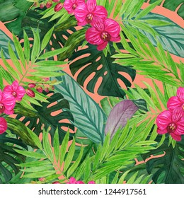 Watercolor seamless pattern with tropical leaves and orchid flowers. Hand paint.