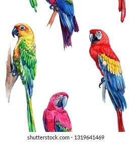 Watercolor seamless pattern of tropical leaves and birds. Scarlet macaw parrot and green Alexandrine parrot.  - Illustration