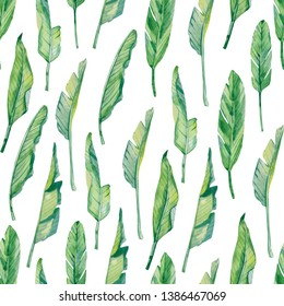 watercolor seamless pattern tropical leaves, colorful exotic summer print  for the textile fabric and wallpapers