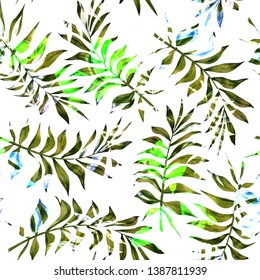 Watercolor seamless pattern with tropical leaves: palms, monstera. Beautiful allover print with hand drawn exotic plants. Swimwear botanical design.