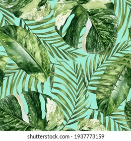 Watercolor seamless pattern tropical leaves on a color background.