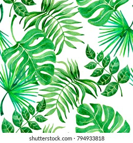 Watercolor seamless pattern tropical leaves