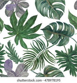 Watercolor seamless pattern with tropical Split Leaves Philodendron plant botanic watercolor painting on white background
