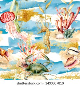 Watercolor seamless pattern with underwater animals and plants. Hand painted corals, jellyfish, seahorse, shell, crab isolated on blue background. Nautical illustration for design, print, background