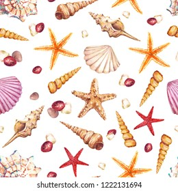 Watercolor seamless pattern with underwater life objects - seashells, starfish and stones.