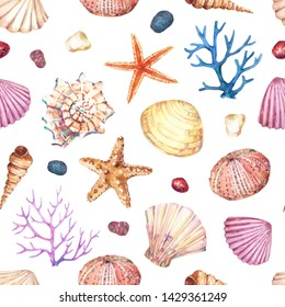 Watercolor seamless pattern with underwater life objects - seashells, starfish, corals, stones and sea urchin.